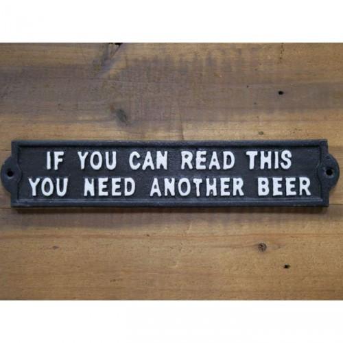 Humorous Beer Iron Sign in Black