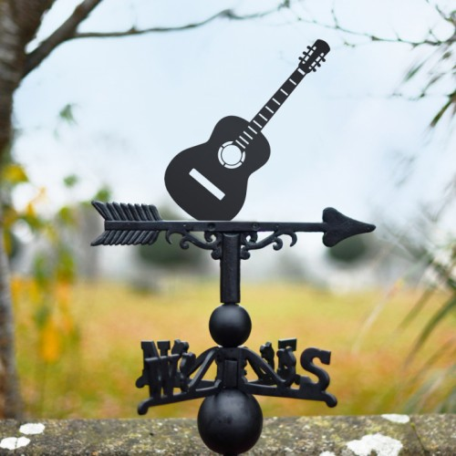 Guitar Weathervane in garden