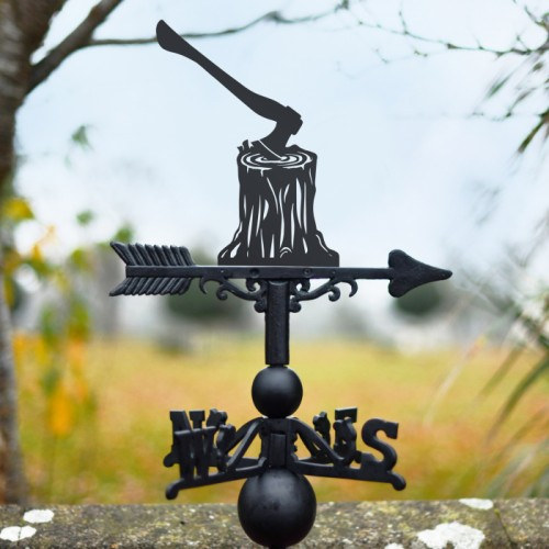 Woodcutter Axe & Tree Stump Weathervane outside