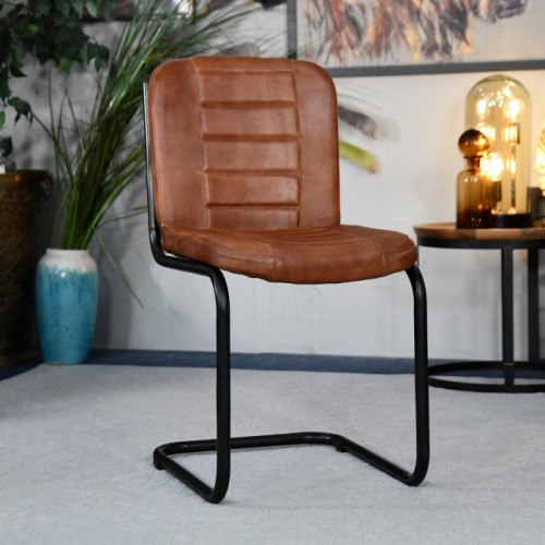 Iron & Buffalo Leather Dining Chair