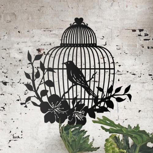 Bird Cage Wall Art on a Rustic Brick Wall