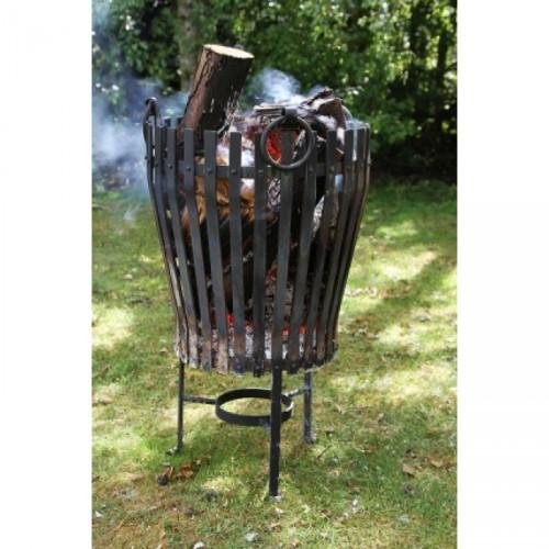 """Black """"Vulcan"""" Stainless Steel Log Burner in Situ Burning Wood"""