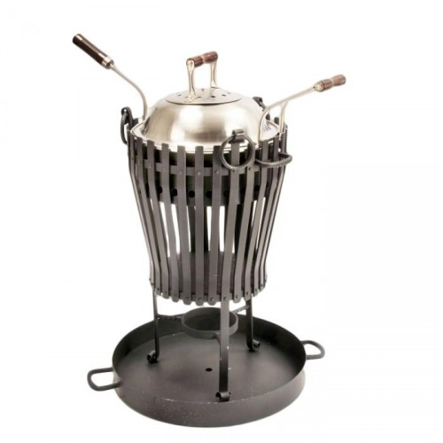 """Deluxe Vulcan"" Black Stainless Steel Log burner & BBQ with Stainless Steel Lid"
