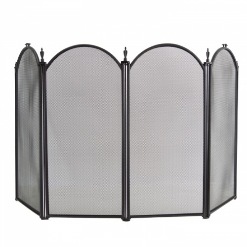 Traditional Black Four Fold Fireguard