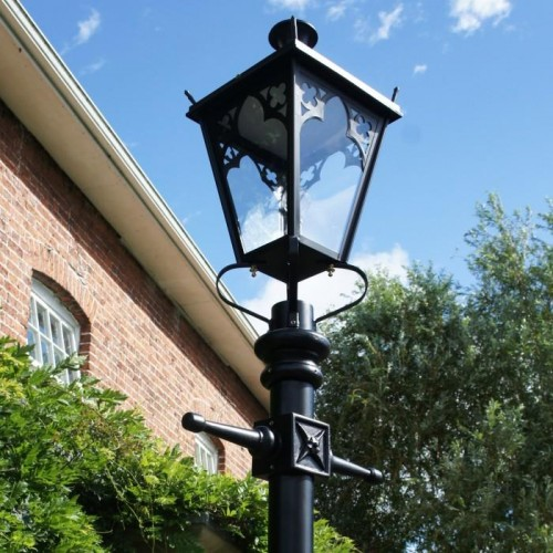 Close-up of the Black Gothic Lantern in Situ on the Lamp Post