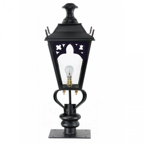 Black Gothic Pillar Light and Lantern Set 90cm