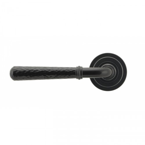 Black Hammered Lever Door Handle on Art Deco Rose