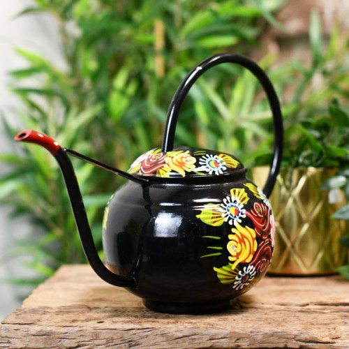 Black Narrowboat Watering Can with Floral Design