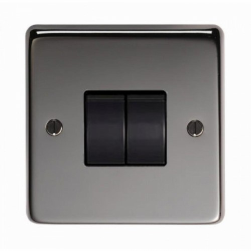10 Amp Double Switch Light Switch Finished in a Black Nickel