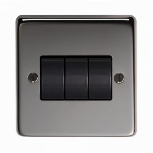 10 Amp Triple Switch Light Switch Finished in a Black Nickel