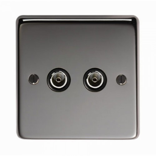 Double TV Socket Finished in a Black Nickel