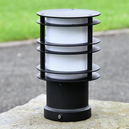 Black Steel Low Level Bollard Light in Situ on Pillar