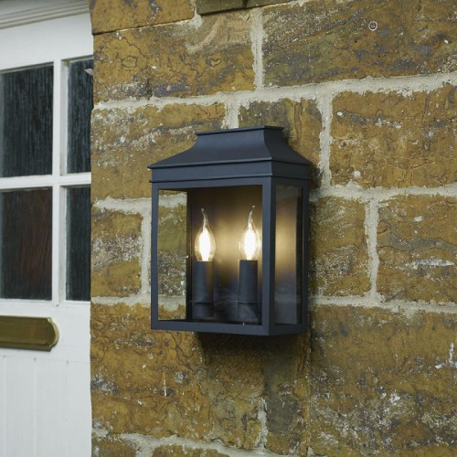 Black Traditional Dual Light Flush Wall Light in Situ on a Wall