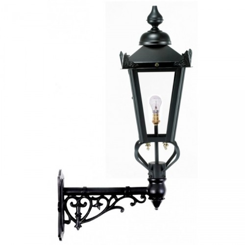 Black Victorian Lantern on an Ornate Wall Bracket