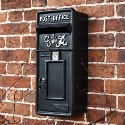 Black & White King George Post Box Mounted on a Wall