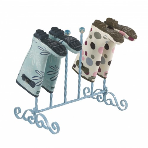Three pair baby Blue welly rack with hand painted ceramic balls