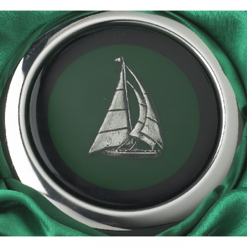 Close-up of the Boat Design on the Whiskey Flask