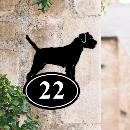 Bespoke Border Terrier Iron House Number Sign in Situ