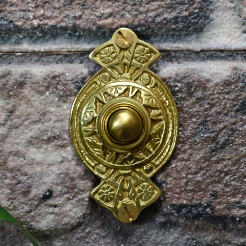 Polished brass front door bell push