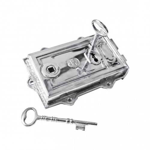 Bright Chrome Ornate Rim Lock