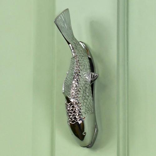 Bright Chrome Fish Door Knocker On Green Door