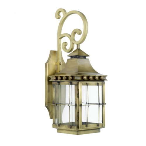 """""""Brighton"""" Wall Lantern Finished in Antique Brass"""
