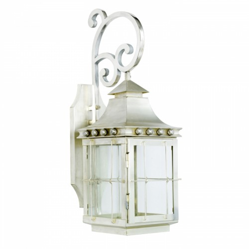 """Brighton"" Wall Lantern Finished in Antique Silver"