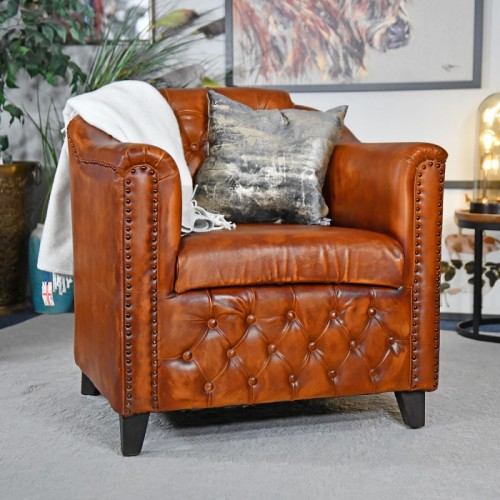 Brown Leather Traditional Arm Chair in Situ with Pillows