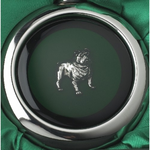 Close-up of the Bulldog on the Whiskey Flask