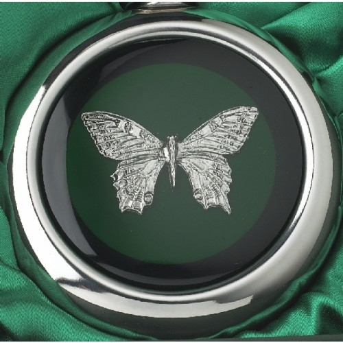 Close-up of the Butterfly Design on the Whiskey Flask