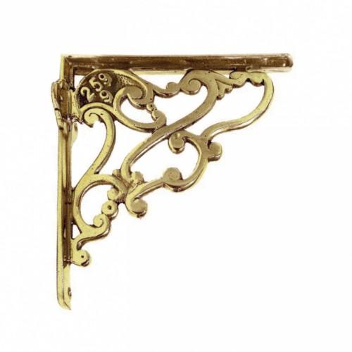 Art Nouveau Shelf Bracket - polished brass