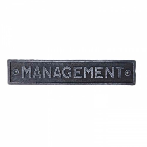 """Cast Iron """"Management"""" Sign"""