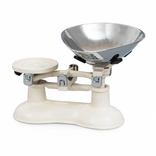 Champagne Cast Iron Kitchen Scales With Chrome Bowl