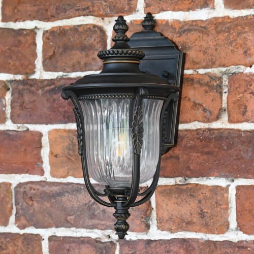 """""""Christleton"""" Bronze Wall Mounted Porch Light in Situ on a Brick Wall"""