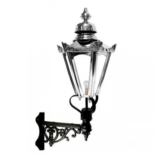 Stainless Steel Hexagonal Concordia Lantern on an Ornate Corner Bracket