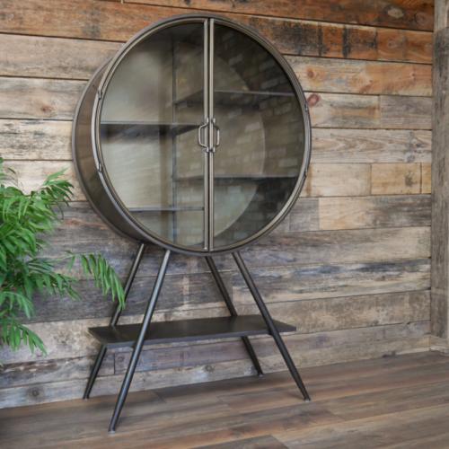Circular Industrial Freestanding Cabinet with Glass Doors