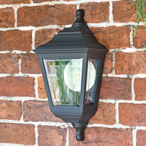 """Clifton"" Flush Wall Mounted Porch Light in Situ on a Brick Wall"