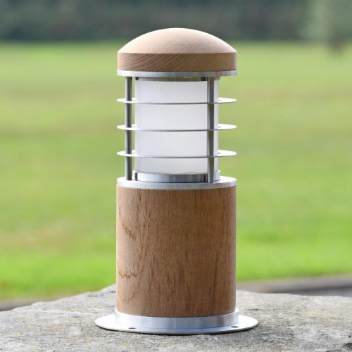 Compact Wooden Bollard Light in Use on a Driveway