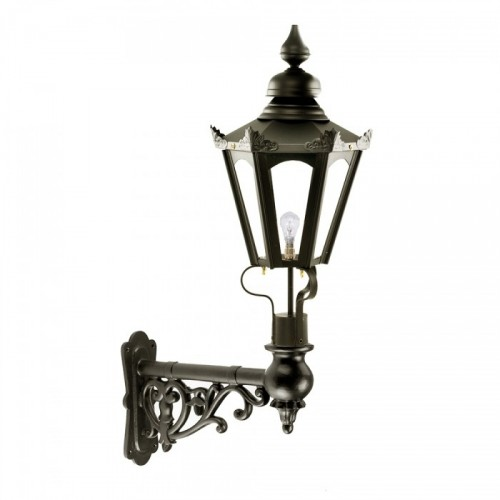 Black Concordia Hexagonal Lantern on an Ornate Capella Bracket