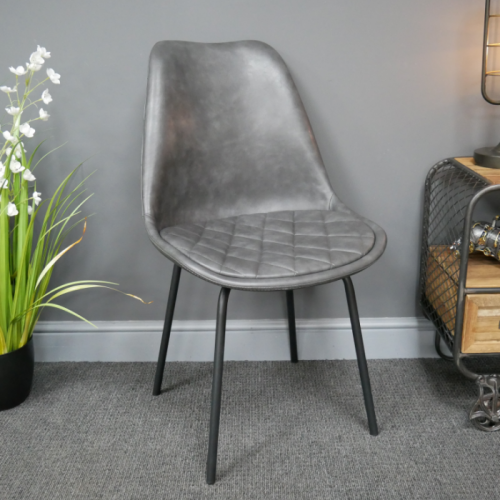 Grey Leather Dining Chair in situ in the Home