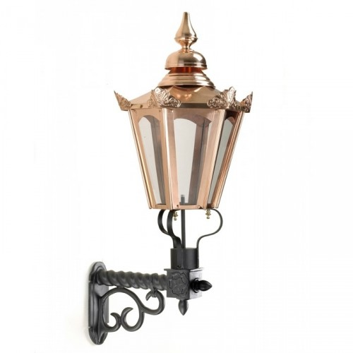 Copper Concordia Hexagonal Lantern on an Ornate Royale Bracket