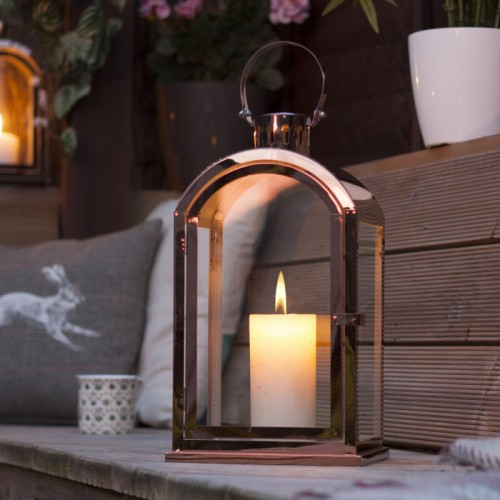Copper Effect Lantern in Situ Outside