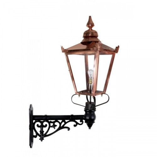 Copper Victorian lantern on an Ornate Wall Bracket