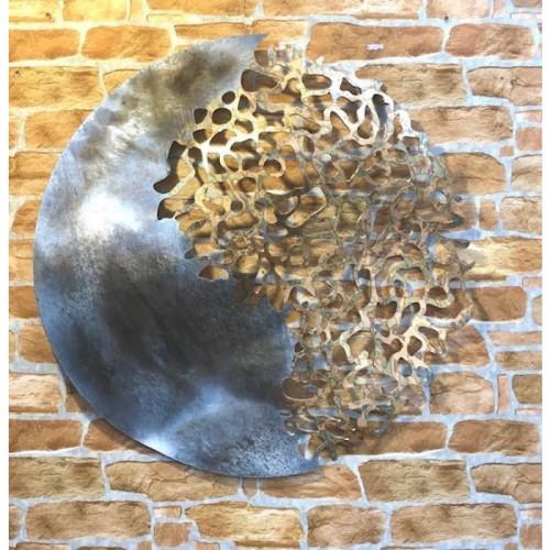 """Coral Reef"" Circular Wall Art in Situ on a Brick Wall"