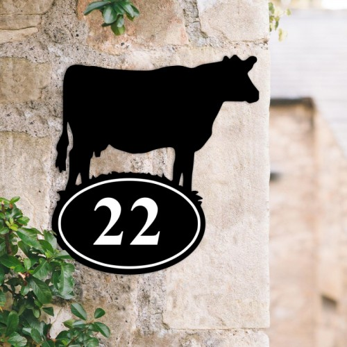 Cow Iron House Number Sign Created Out of Iron