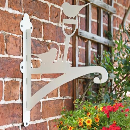Robin Iron Hanging Basket Bracket in Situ on a Garden Wall