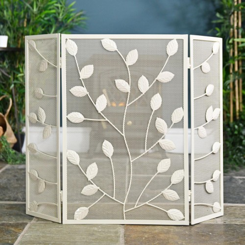 Three Fold Fire Guard with Leaf Detailing Finished in Cream