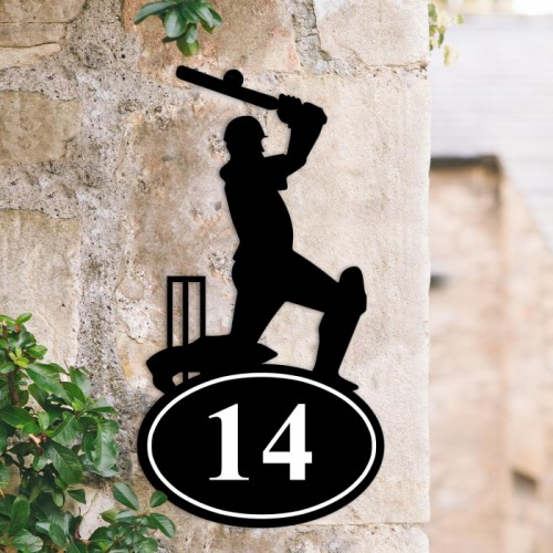 Bespoke Cricket Player Iron House Number Sign in Situ