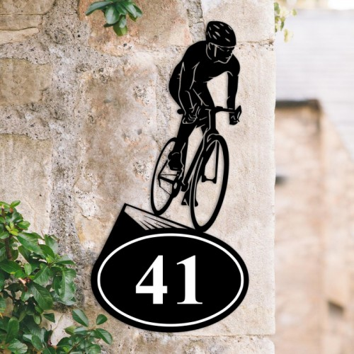 Bespoke Cyclist Iron House Number Sign in Situ