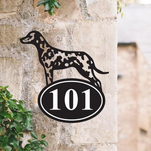 Bespoke Dalmatian Iron House Number Sign in Situ